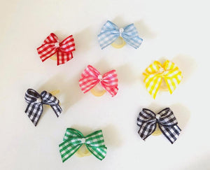 Tiny Gingham bows with a centered pearl double elastics