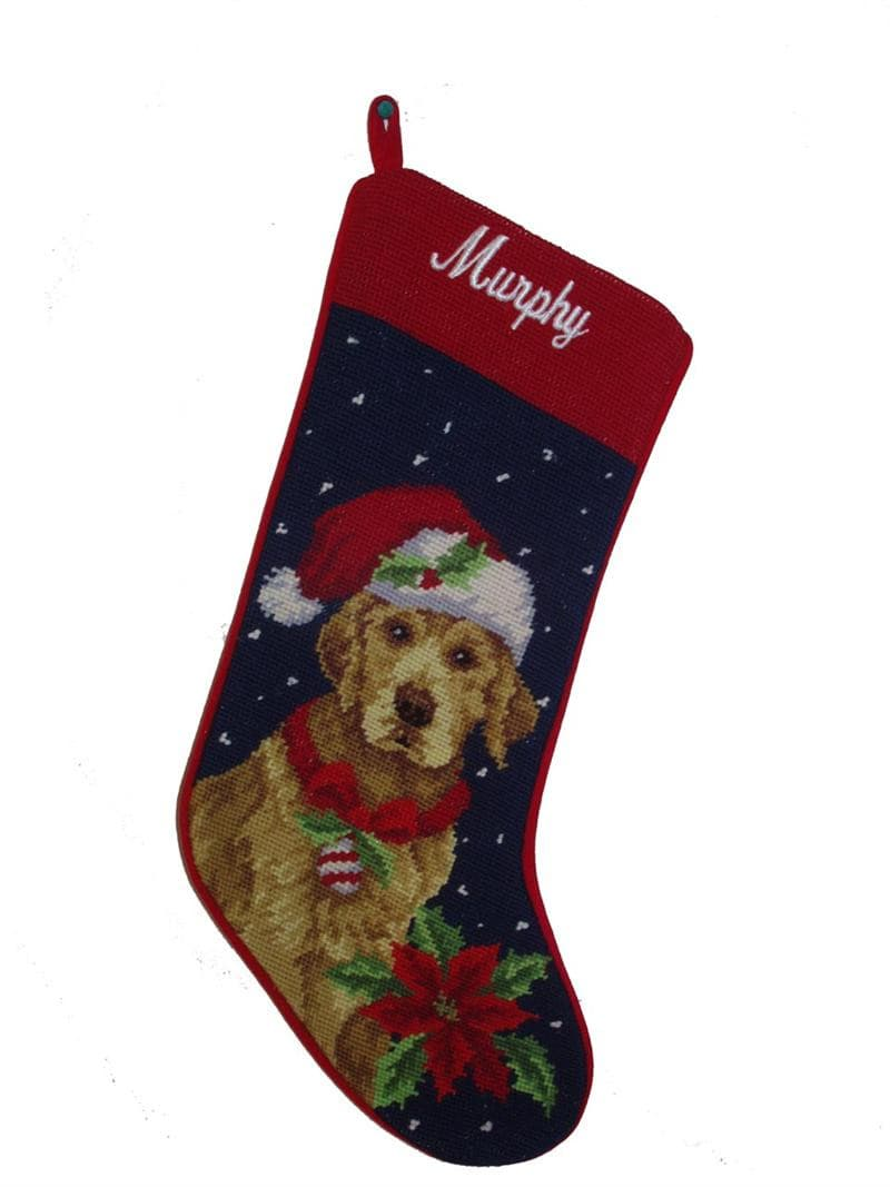 Needlepoint Christmas Dog Breed Stocking - Golden Retriever with Santa Hat - A Pet's World