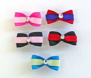 Dog Hair Bows-Double Grosgrain Stripe Rhinestone Center - A Pet's World