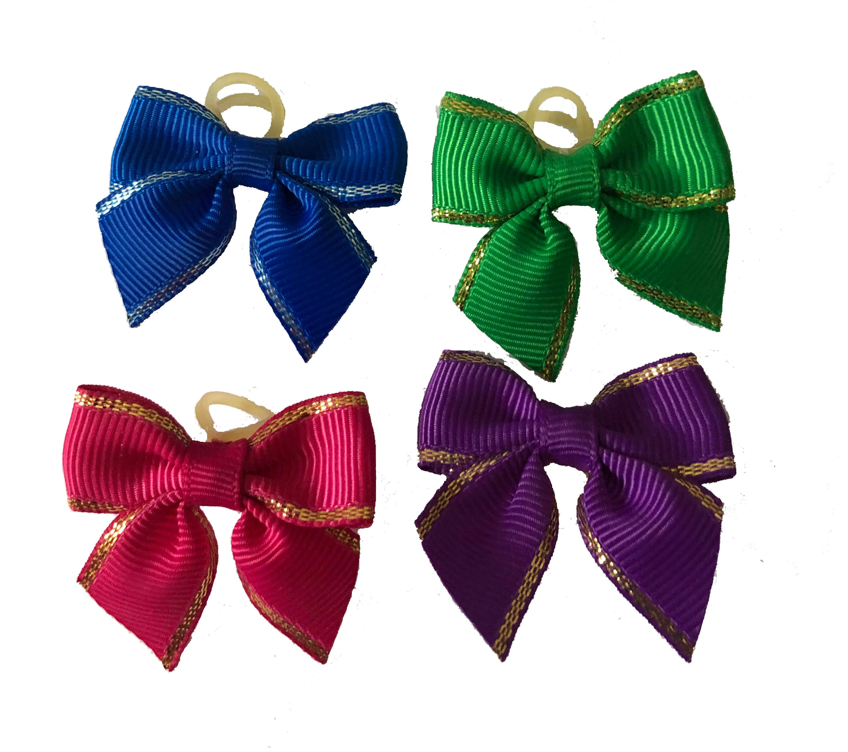 Dog Hair Bows -   Grosgrain Bows with Metallic Edges - A Pet's World