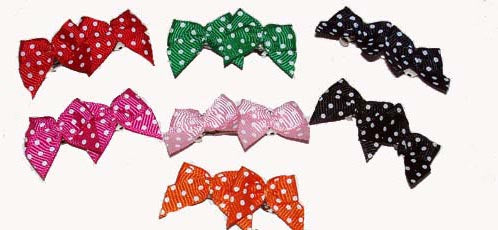 Dog Hair Bows -  Polka Dot Barrettes - A Pet's World