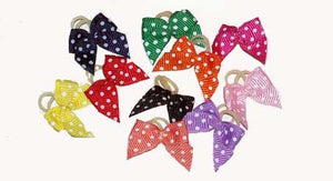 Dog Hair Bows -  Polka Dot Elastics - A Pet's World