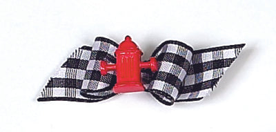 Dog Hair Accessory-Red Fire Hydrant Starched Gingham Show Bow Barrette - A Pet's World