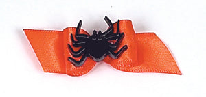 Dog Hair Accessory-Spider Show Bow on Orange Starched Ribbon Barrette - A Pet's World