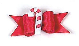 Dog Hair Accessory- Candy Cane Starched Show Bow Barrette - A Pet's World
