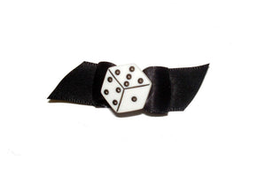 Dog Hair Accessory-Dice on Black Starched Show Bow Barrette - A Pet's World