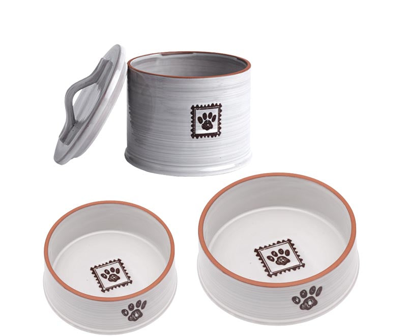 Ceramic Paw Print Dog Dishes + Treat Jar - A Pet's World