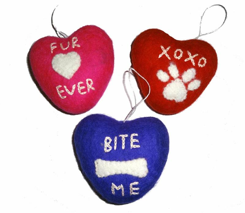 Dog Toy- 3 Heart Felt Squeaker Toys - A Pet's World