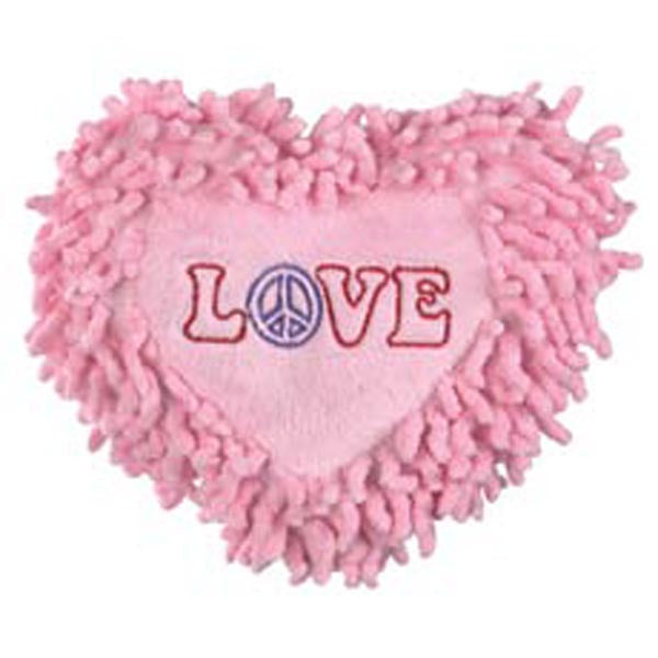 Dog Toy- Fringed Heart Peace Love Plush Toy with Squeaker - A Pet's World