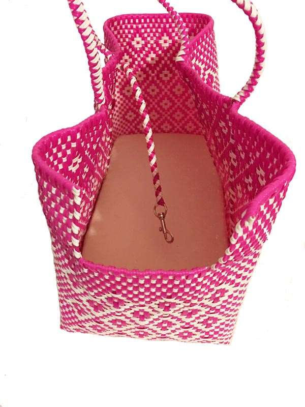 Dog Totes-Handwoven Light Weight Recycled Material-Hot Pink + White - A Pet's World