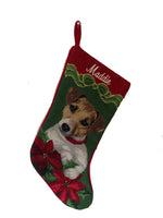 Load image into Gallery viewer, Needlepoint Christmas Dog Breed Stocking -Jack Russell with Bow + Poinsettias - A Pet's World