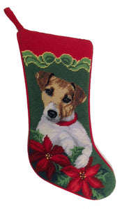 Needlepoint Christmas Dog Breed Stocking -Jack Russell with Bow + Poinsettias - A Pet's World