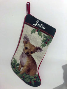 Needlepoint Tan Chihuhua Stocking for Julio