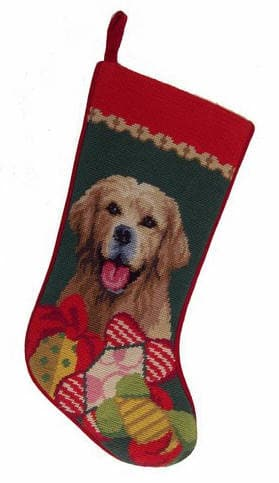 Needlepoint Christmas Dog Breed Stocking - Golden Retriever with Toys - A Pet's World