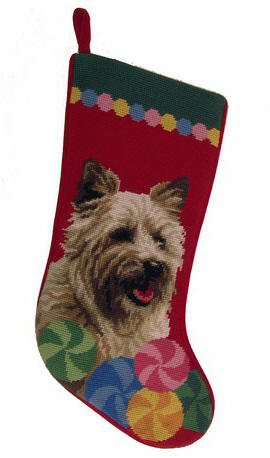 Needlepoint Christmas Dog Breed Stocking -Cairn Terrier with Circles - A Pet's World