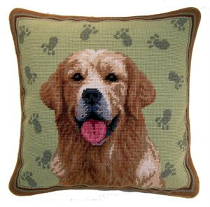 Needlepoint Pillow Golden Retriever - A Pet's World