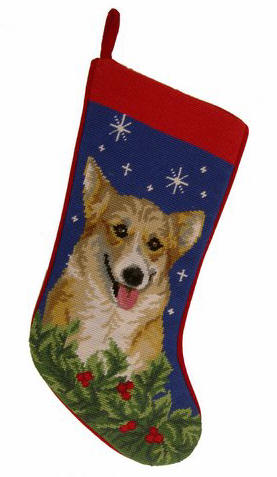 Needlepoint Christmas Dog Breed Stocking - Corgi + Stars and Holly - A Pet's World