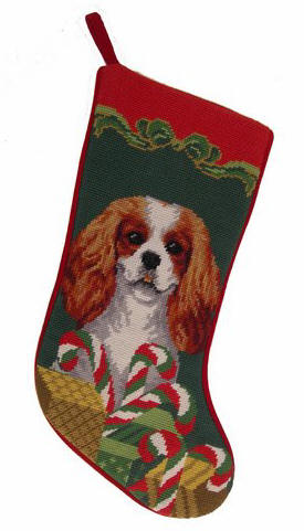 Needlepoint Christmas Dog Breed Stocking -Cavalier King Charles Spaniel with Candy Canes - A Pet's World