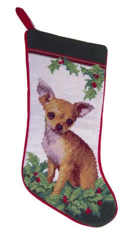 Needlepoint Christmas Dog Breed Stocking - Chihuahua Tan with Holly - A Pet's World