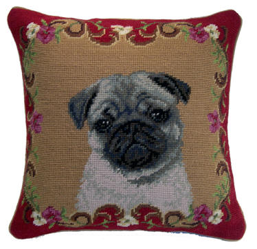 Needlepoint Pillow- Fawn Pug - A Pet's World