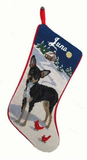 Needlepoint Christmas Dog Breed Stocking - Chihuahua Black +Tan with Moon - A Pet's World