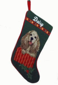 Needlepoint Christmas Dog Breed Stocking -Cocker Spaniel - A Pet's World