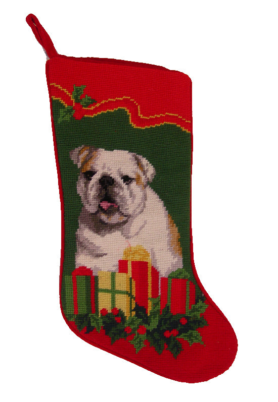 Needlepoint Christmas Dog Breed Stocking - Bulldog + Presents and Holly - A Pet's World