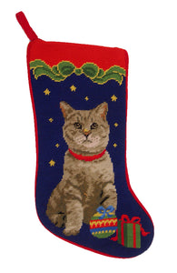Needlepoint Christmas Cat Stocking -Gray Tabby - A Pet's World