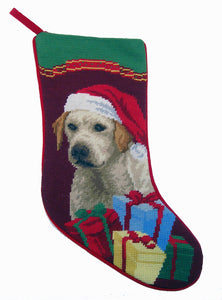 Needlepoint Christmas Dog Breed Stocking - Yellow Lab Puppy with Santa Hat and Presents - A Pet's World