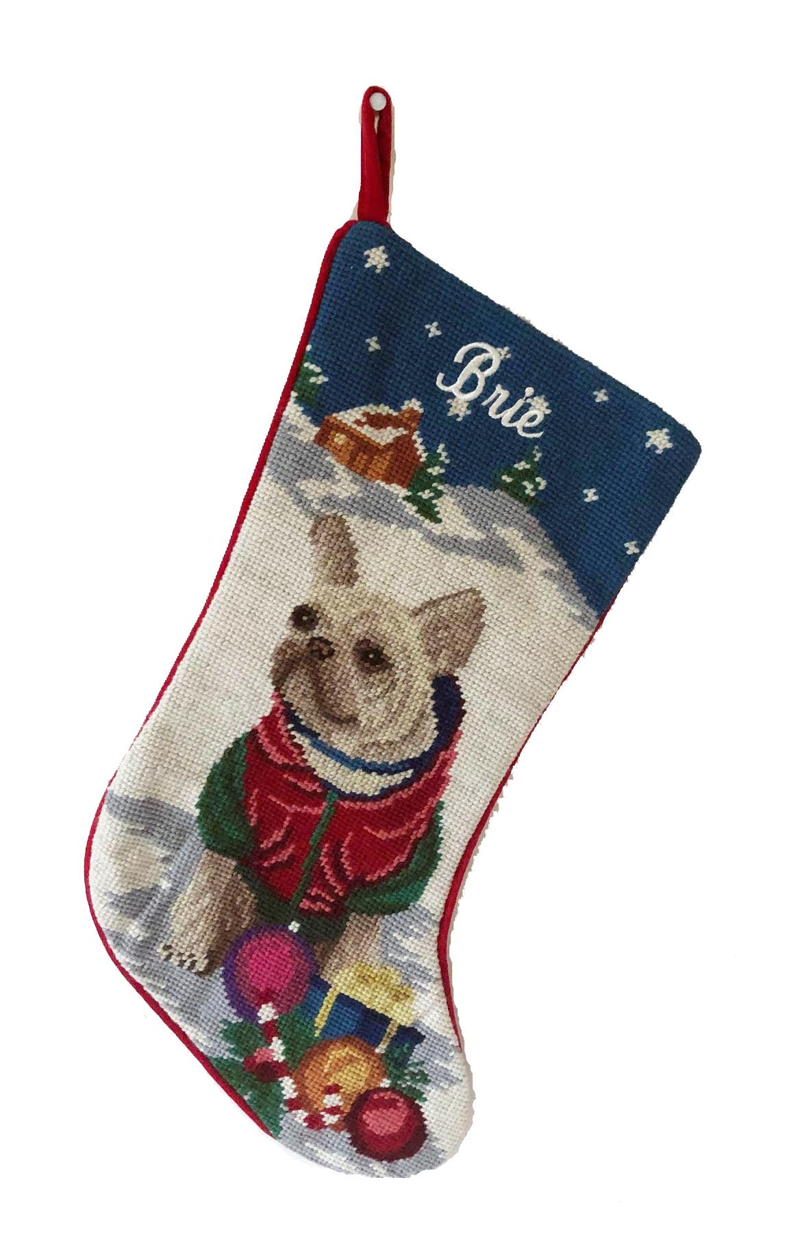 Needlepoint Christmas Dog Breed Stocking -Tan Frenchie Winter Scene - A Pet's World