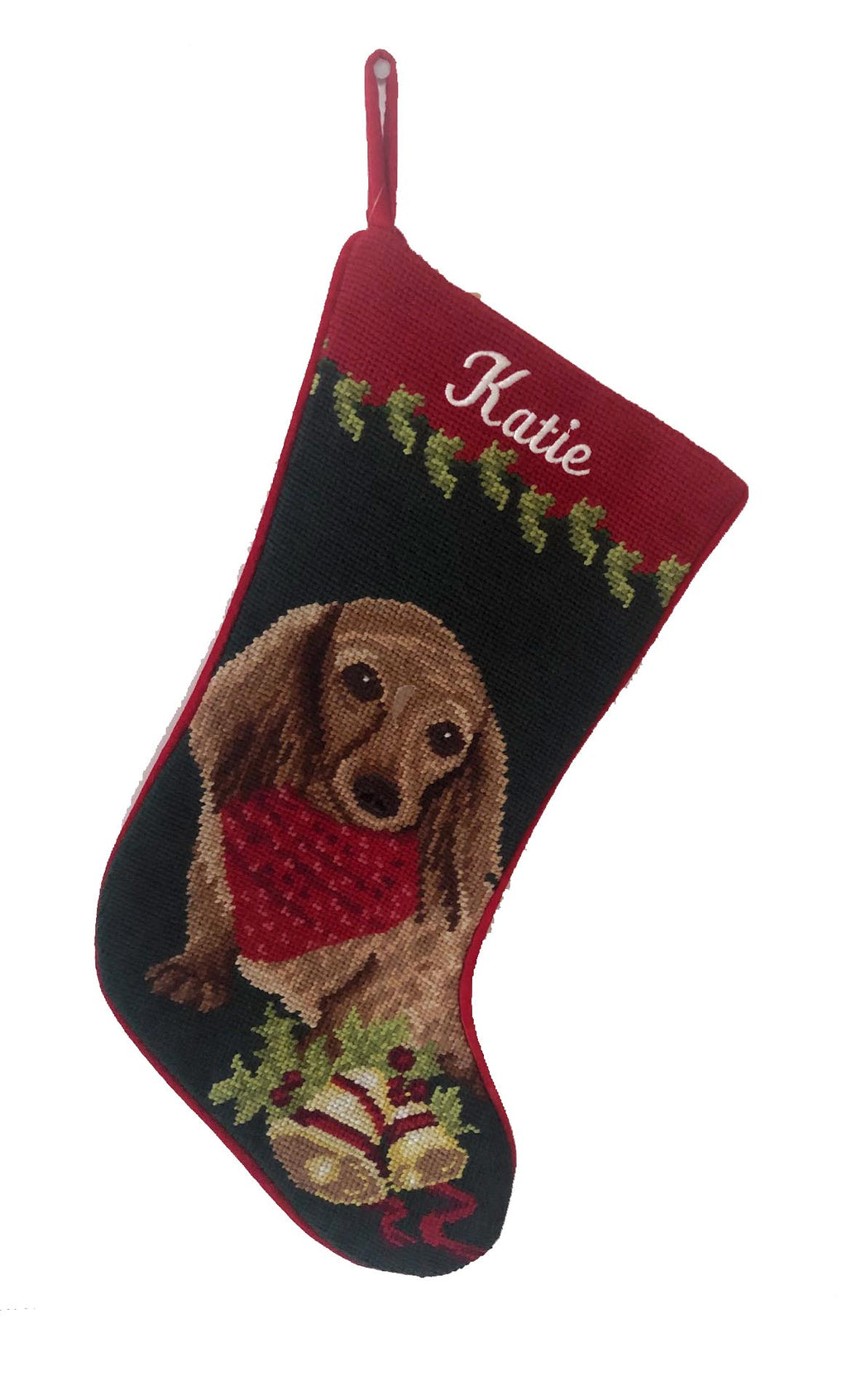 Needlepoint Christmas Dog Breed Stocking -Dachshund - Long-haired Red with Bandanna - A Pet's World