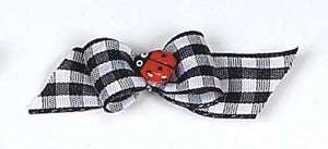 Dog Hair Bows- Lady Bug on Gingham Starched Show Bow Barrette - A Pet's World