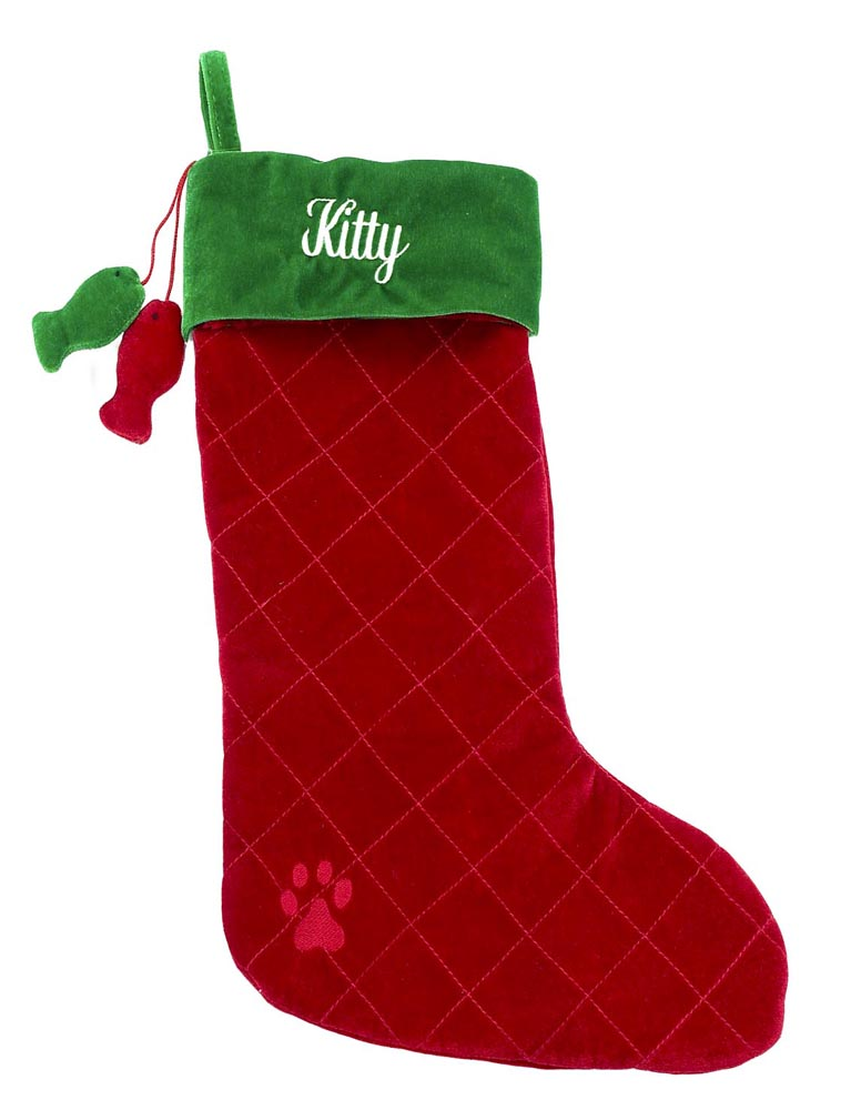 Christmas Cat Stocking Tall Red + Green with Dangling Fish - A Pet's World