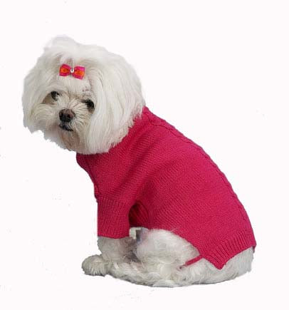Dog Sweater-Roll Neck Cotton Cable - A Pet's World