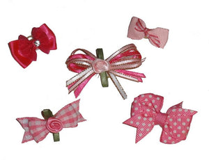Dog Hair Bows-Lilly's Five (5) Favorite Pink Bows with Elastics - A Pet's World