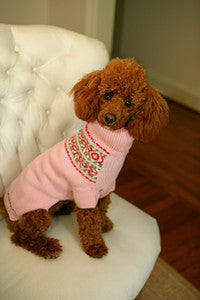 Dog Sweaters-Pink Fair Isle - A Pet's World