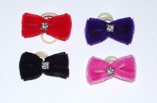 Dog Hair Bows - Mini Velvet Rhinestone Elastics - A Pet's World