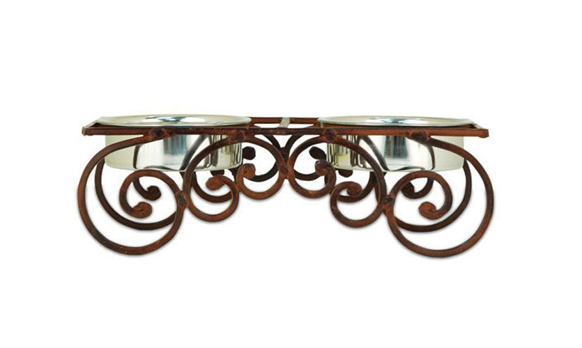 Small Rustic Wrought Iron Monte Double Feeder - A Pet's World