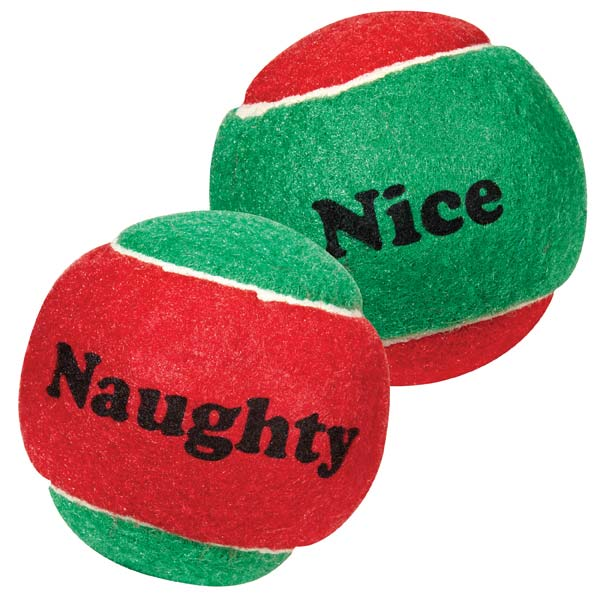 Dog Toys-Naughty and Nice Tennis Balls - A Pet's World