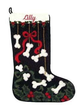 Needlepoint Dog Bones Christmas Stocking - A Pet's World