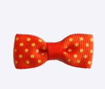 Dog Hair Bow - Just Ducky Orange/Yellow Polka Dot Bow Tie - A Pet's World