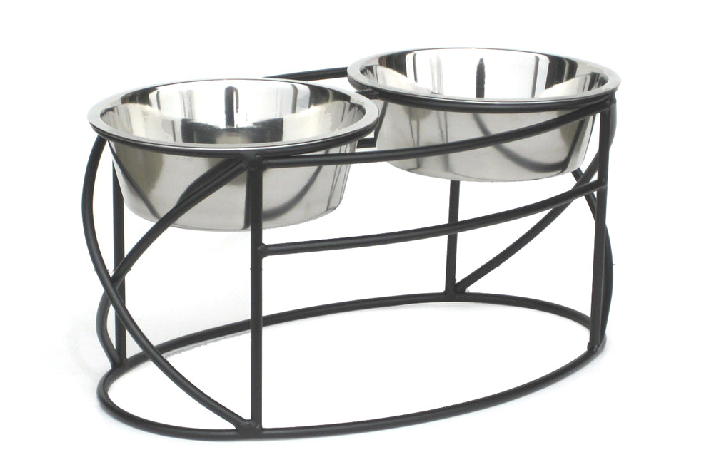 Dog Diner- Oval Cross Ends Double Feeder - A Pet's World
