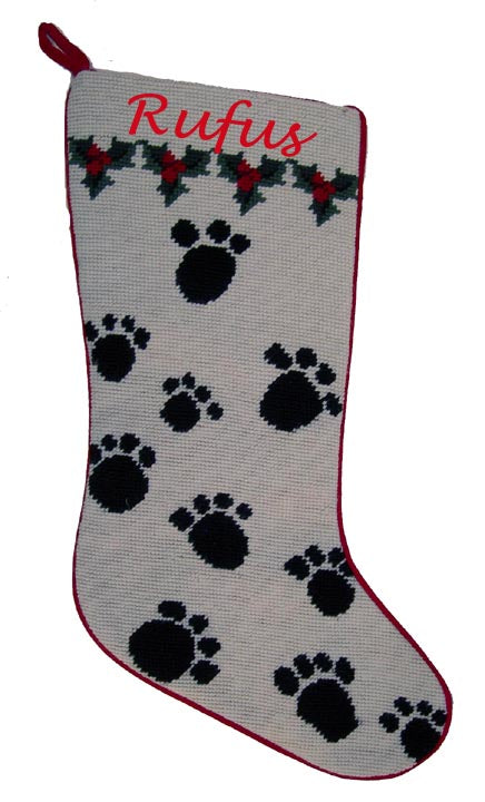 Needlepoint Christmas Dog Stocking with Paw Prints - A Pet's World