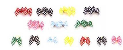 Dog Hair Bows-Petite Gingham Pearl Bows with Elastics - A Pet's World