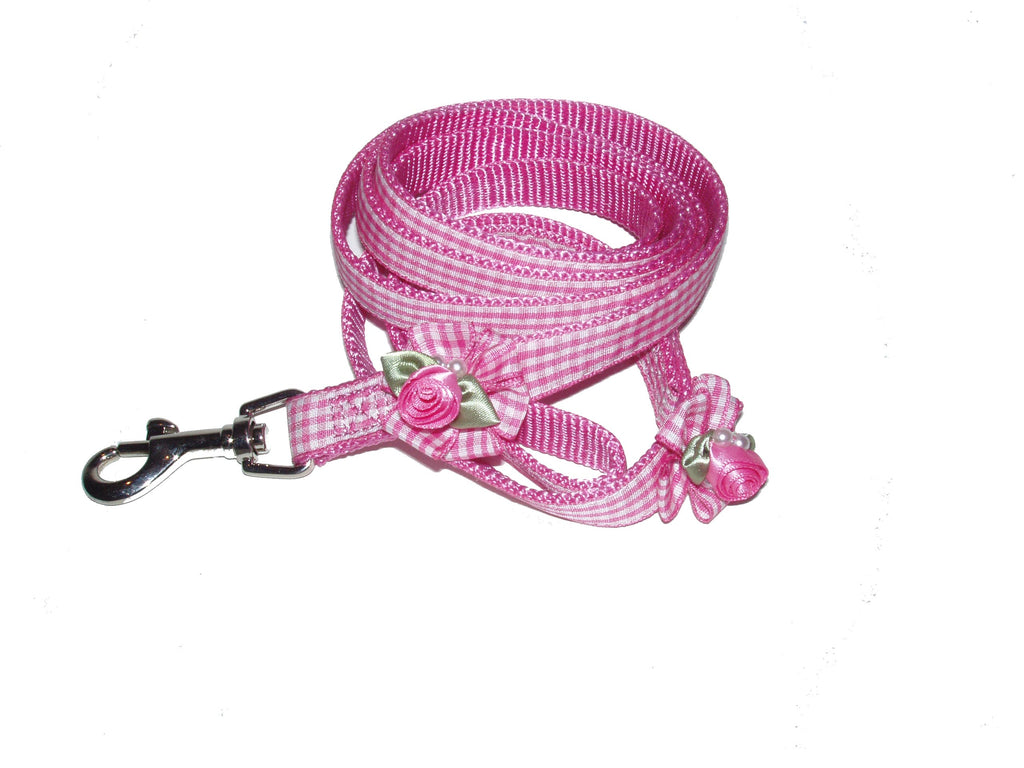 Embellished Pink Gingham Ribbon Dog Leashes with Petal Flowers and Pearls - A Pet's World