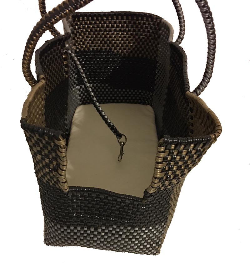 Dog Totes-Handwoven Light Weight Recycled Material-Bronze + Black Plaid - A Pet's World