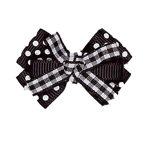 Dog Hair Bow- Black + White Gingham Polka Knot Barrette - A Pet's World