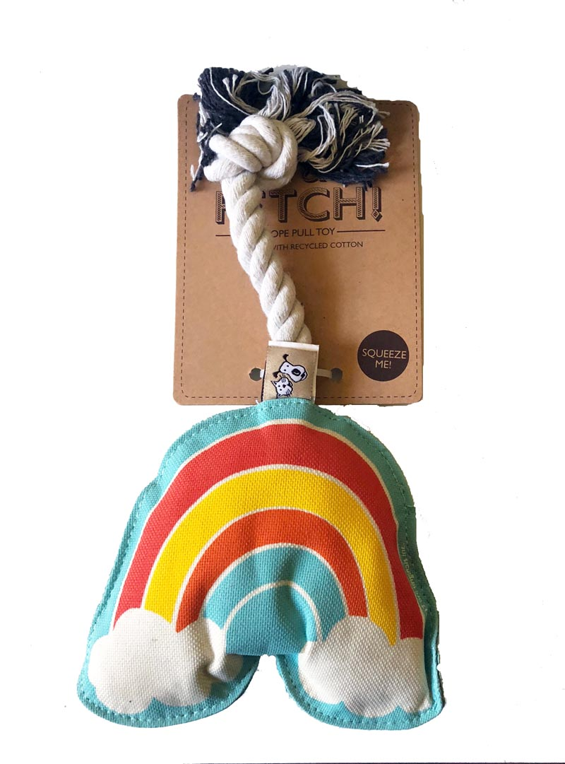 Dog Toy - Canvas Rainbow Rope Pull Toy with Squeaker - A Pet's World