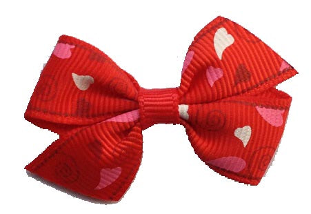 Dog Hair Bows-Red Abstract Hearts - A Pet's World