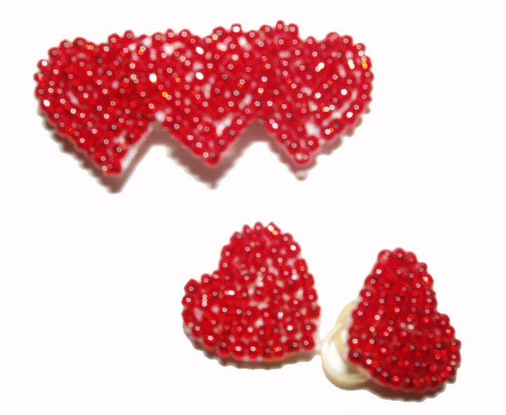 Dog Hair Bows-Red Beaded Hearts - A Pet's World